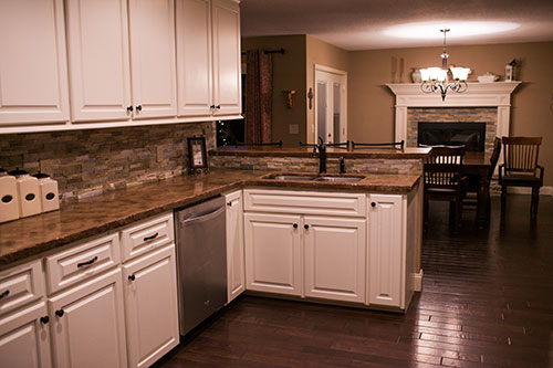 This Stacked Stone Backsplash Was A Favorite Feature Of This Kitchen. We  Loved The Warm Earthy Tones Of The Stones That Added A Rustic, Yet Classy,  ...