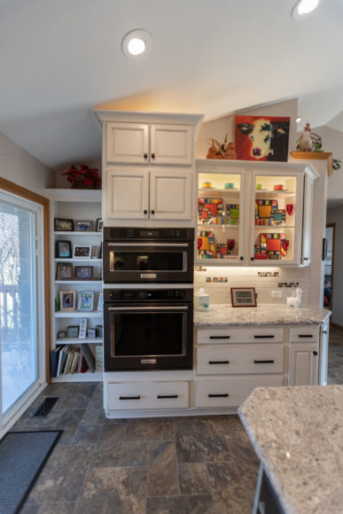 Kitchen remodel with double oven and custom cabinetry
