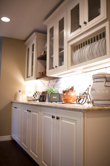 farmhouse kitchen with white cabinets