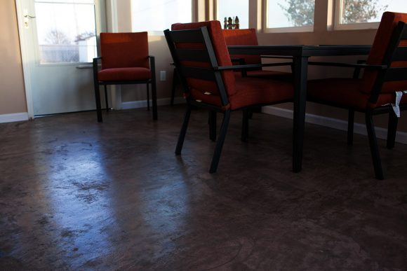 Three Season Porch Stained Concrete