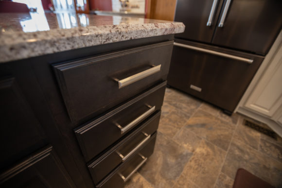 drawers with brushed nickel pulls