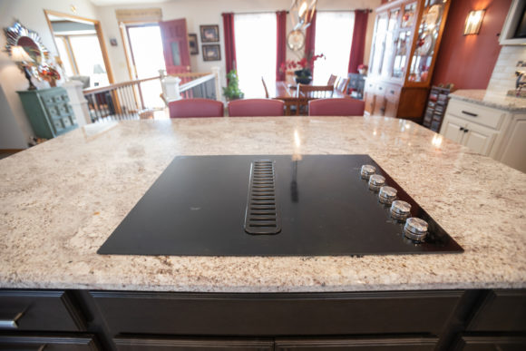 glass cook top in island