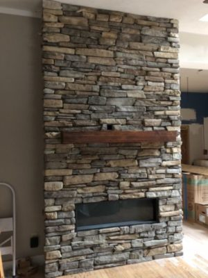 Custom Stacked Stone Fireplace (video)