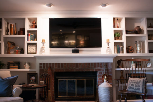 Whole Home Remodel with Fireplace Open Shelving
