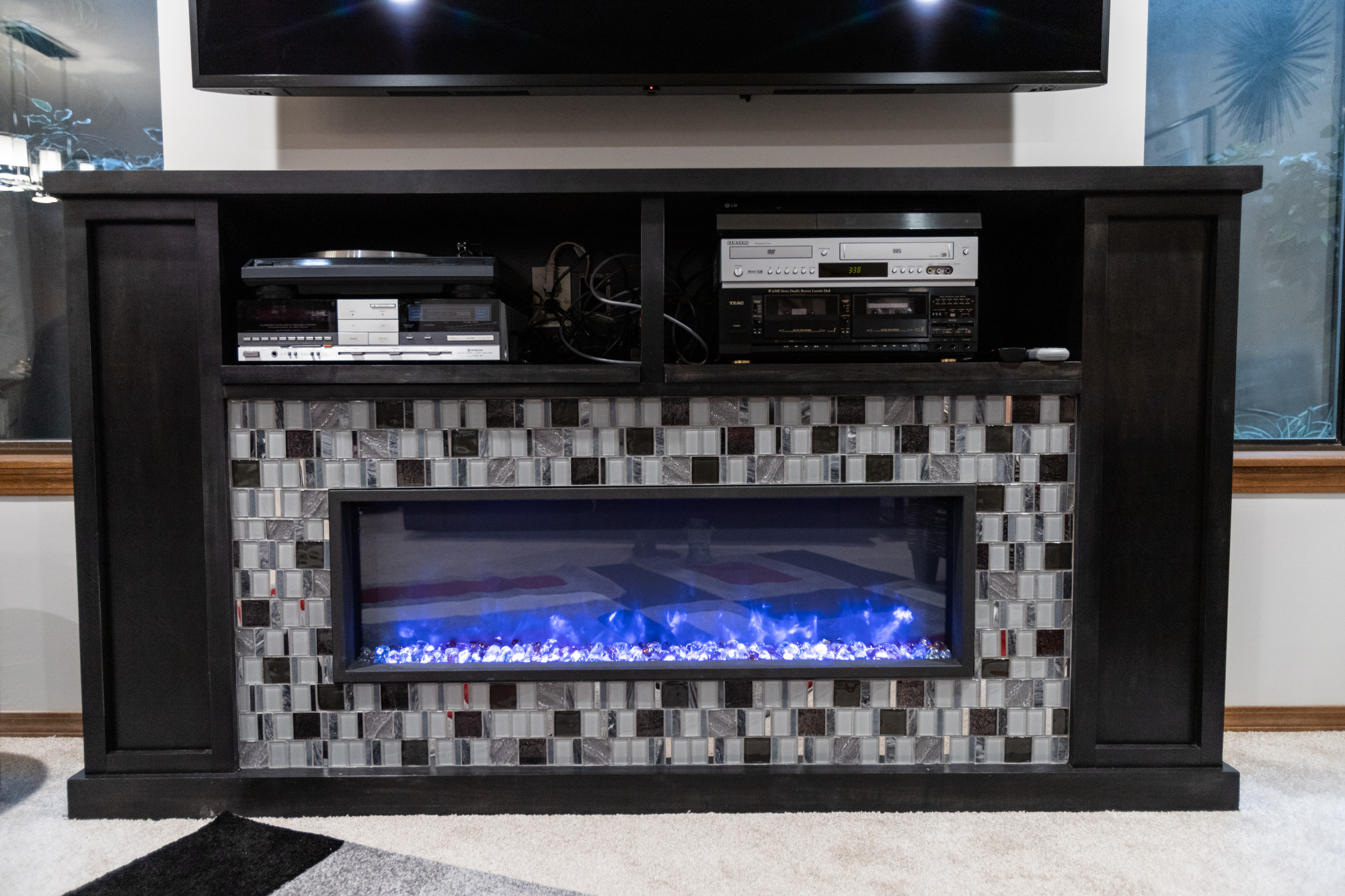 custom mantel and tile surround