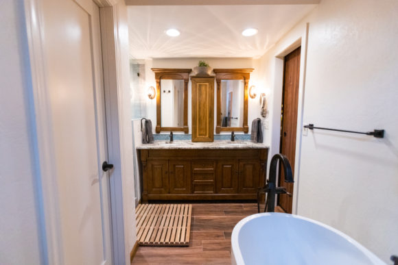 master bath remodel with new vanity and coutertop