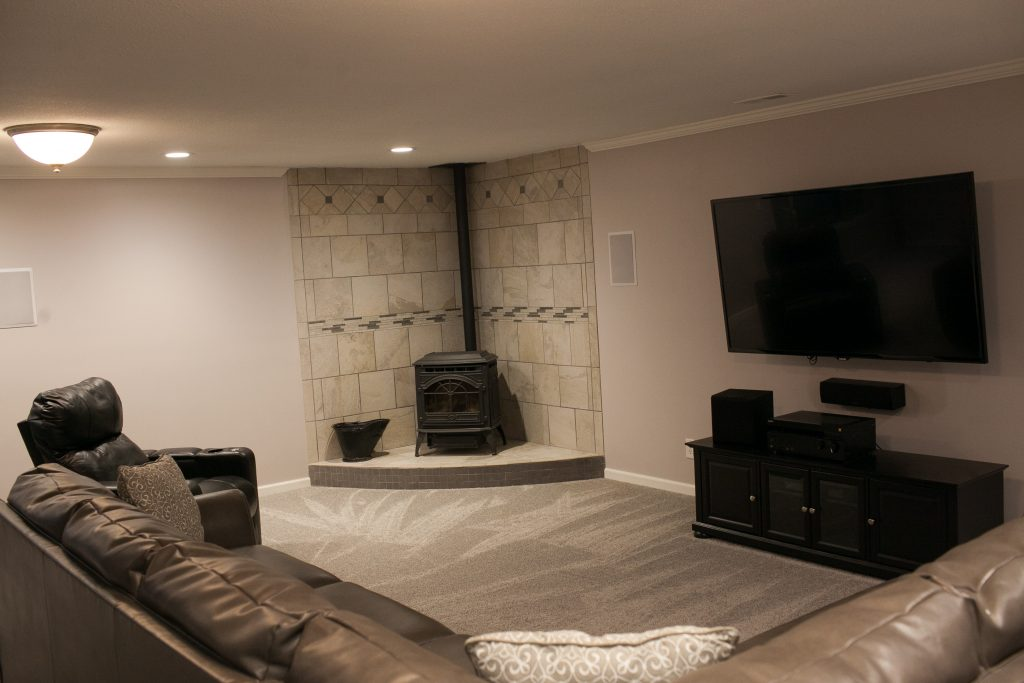 Basement Finish in Wichita, KS with surround sound