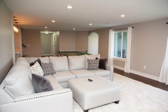 Finished Basement living room near Wichita, KS