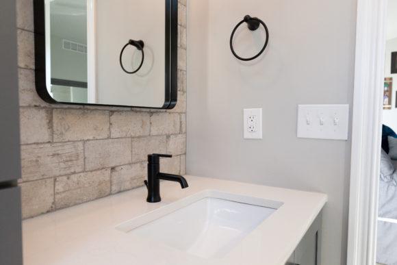 master bath remodel matte black faucet