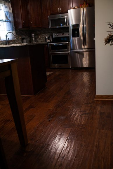 Kitchen Remodel Hand scraped hickory hard wood floors