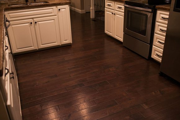 Kitchen Remodel Hand scraped maple hardwood flooring