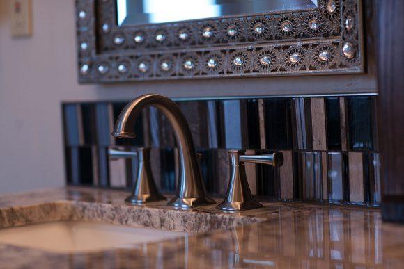 Master Bath Remodel Wichita KS brushed nickel fixtures and accent tile backsplash