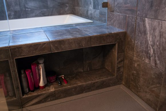 Master Bathroom Remodel Shower Shampoo Shelf