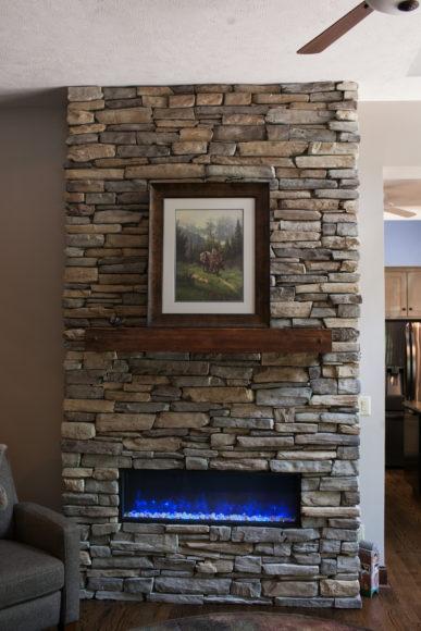 custom stacked stone fireplace