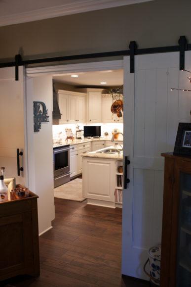barn doors kitchen addition