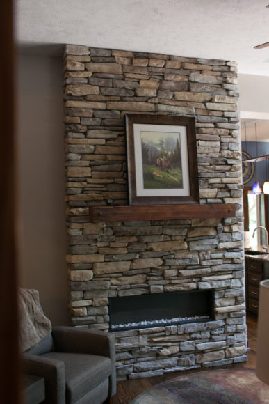 custom stacked stone fireplace