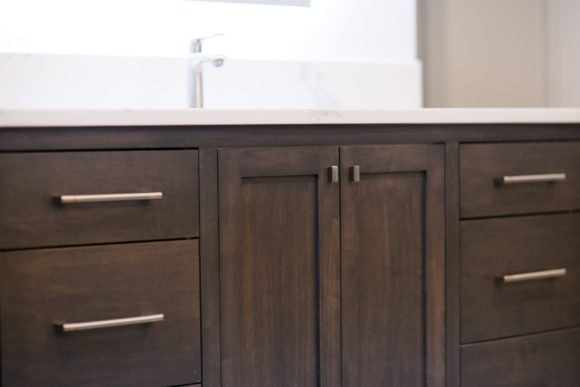 custom cabinetry with brushed nickel hardware