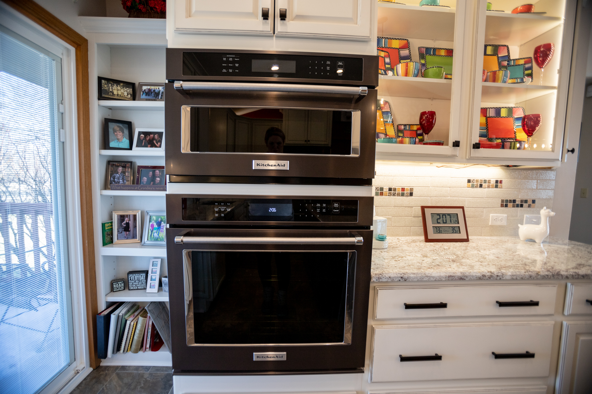 double oven with custom cabinetry