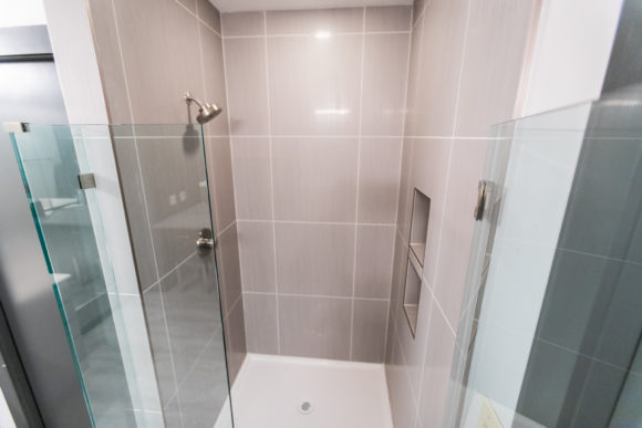 bath remodel Wichita new, larger tiled shower