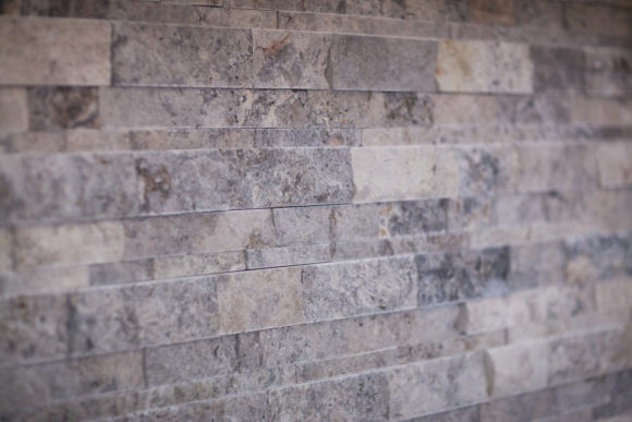 stacked stone accent wall in East Wichita Master bath