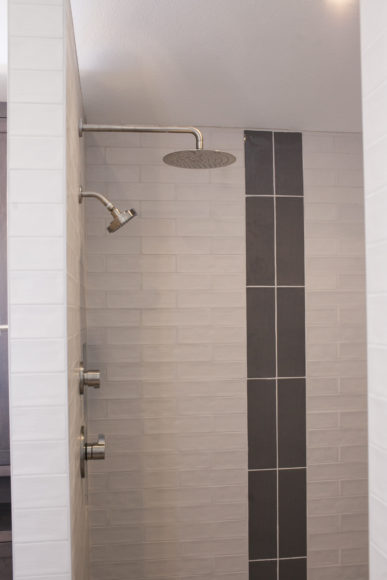 walk-in custom shower with rainhead