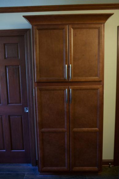 linen cabinet in bathroom remodel in Wichita, KS