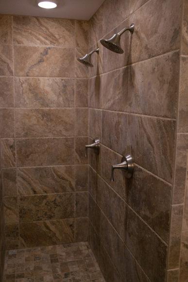 double shower heads in custom shower Wichita