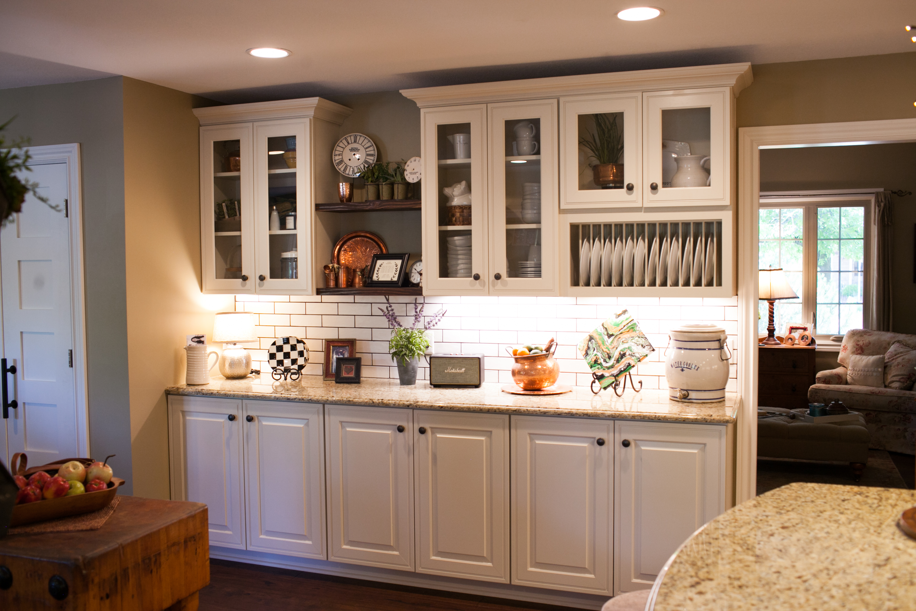 Open Shelving and Dishrack for Kitchen Remodeling