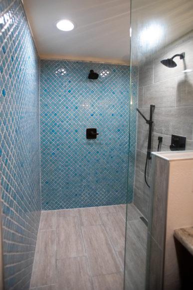 Custom walk-in shower in master bath addition