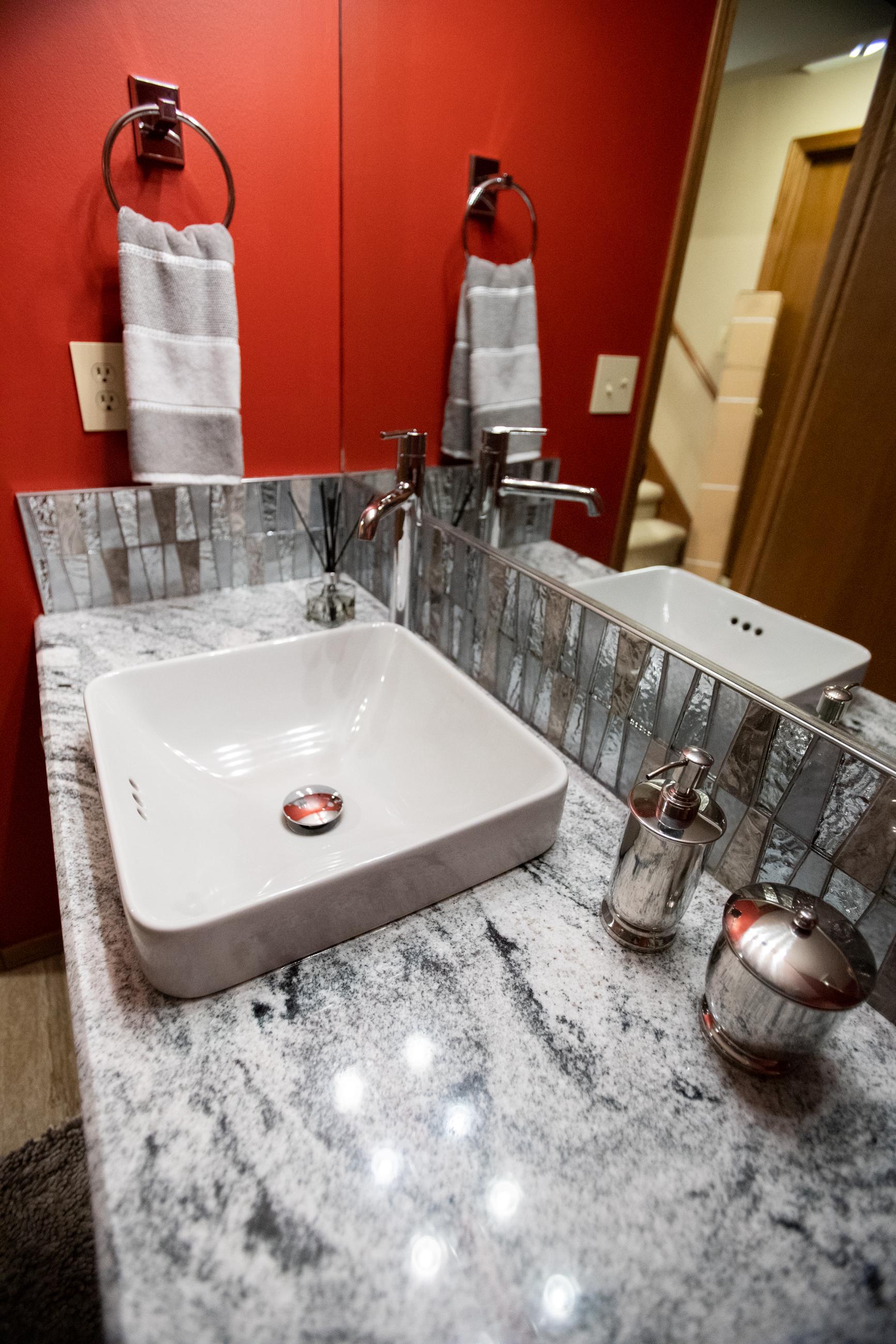 new countertop, sink and backsplash