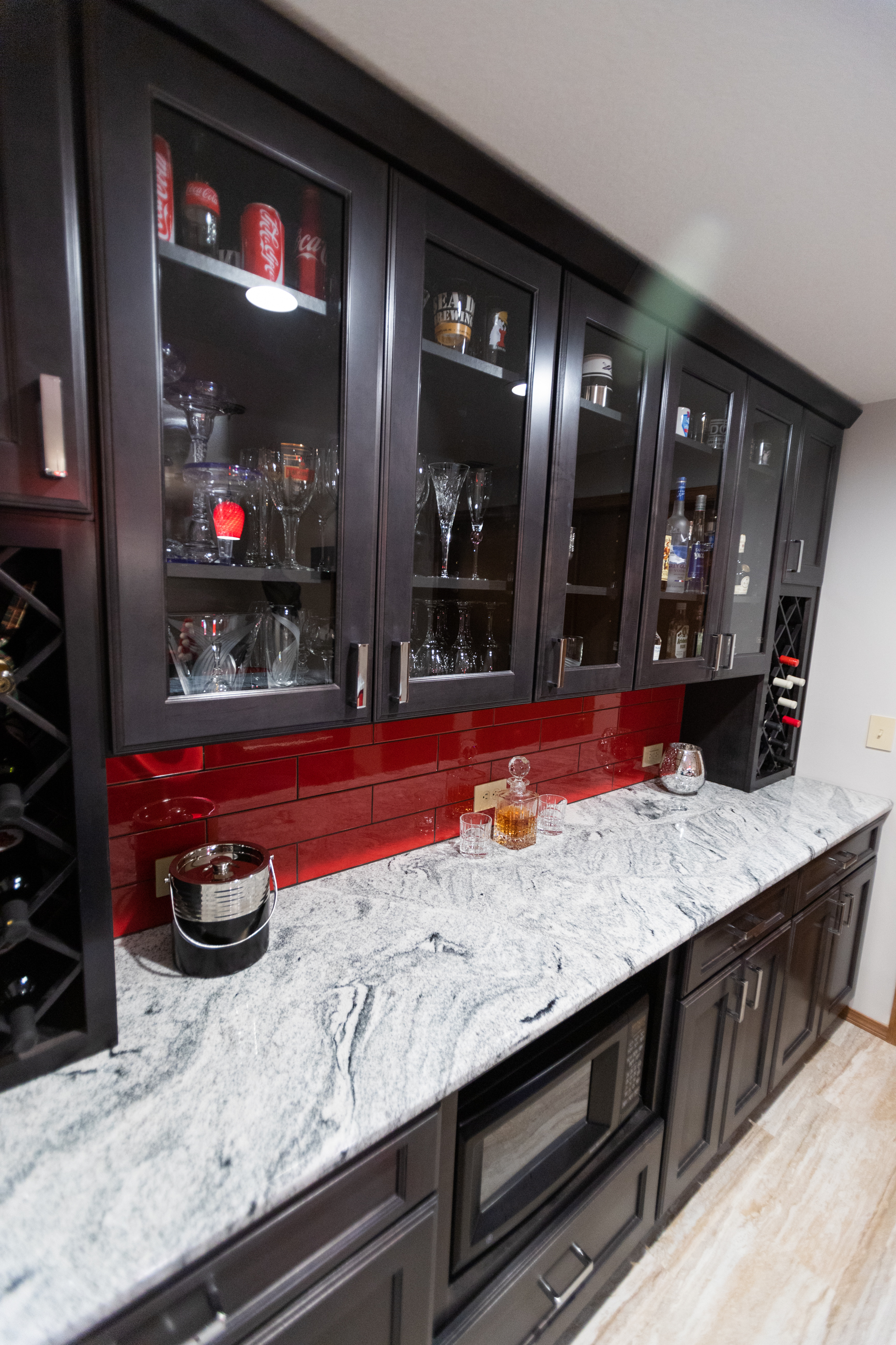 Custom cabinetry in basement bar