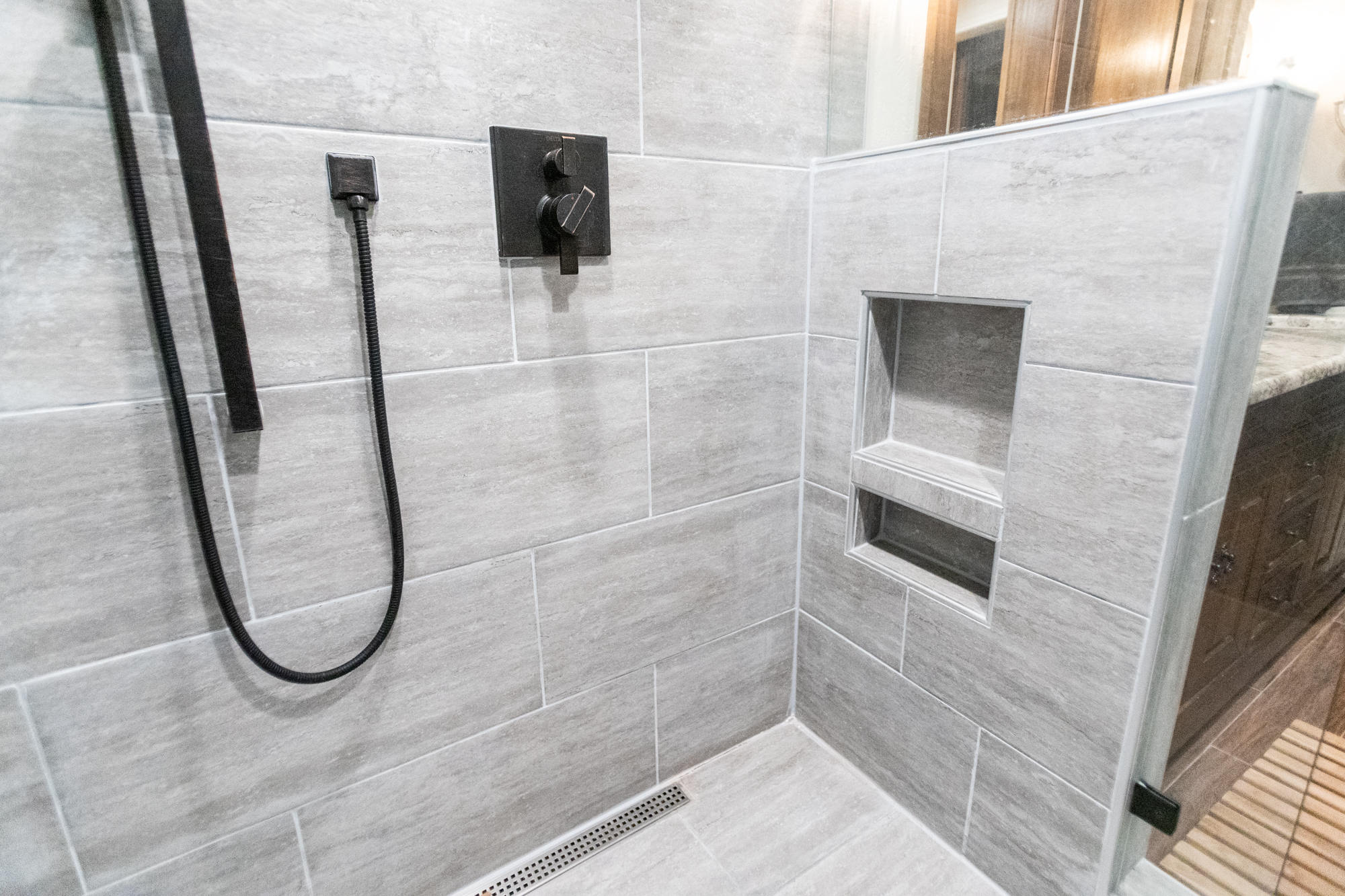 custom shower with line drain